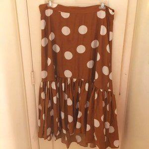 H&M polka dot midi flounce skirt in chestnut brown